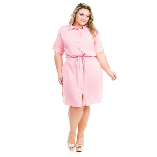 58c306009 Vestido Chemisie de Sarja Color Plus Size