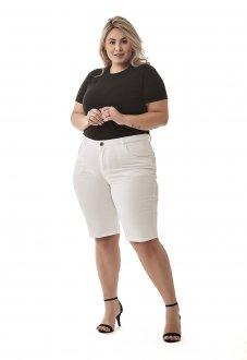 Bermuda Ciclista Branca Plus Size Jeans Feminina Cintura Alta Lycra