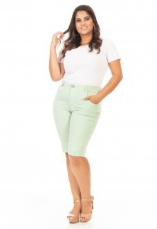 Bermuda Feminina Jeans Color Plus Size