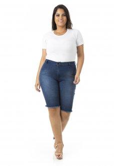 Bermuda Feminina Jeans Ciclista com Lycra Plus Size