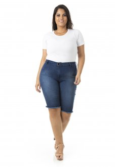 Imagem - Bermuda Feminina Jeans Ciclista com Lycra Plus Size