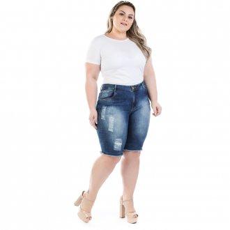 Bermuda Feminina Jeans Destroyed Shakira Plus Size