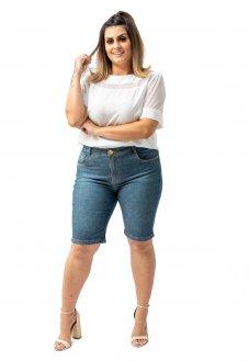 Imagem - Bermuda Jeans Feminina Básica Cintura Alta Com Lycra Plus Size