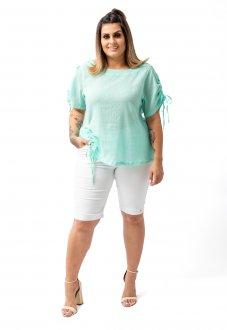 Bermuda Modeladora Feminina Jeans Color Plus Size