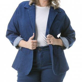 Blazer Jeans Feminino com Gola Plus Size