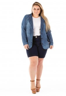 Blazer Jeans Feminino Slin Fit Plus Size