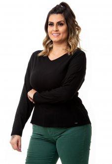 Blusa Feminina Básica em Linho com Elastano Plus Size