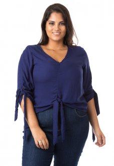 Blusa Feminina Crepe com Laço Plus Size