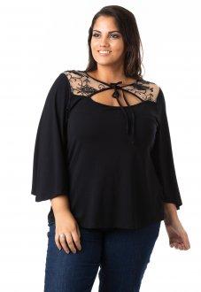 Blusa Feminina de Viscose com Tule e Renda Plus Size