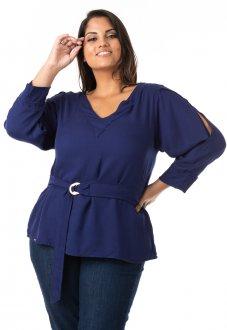 Blusa Feminina em Crepe com Cinto Plus Size