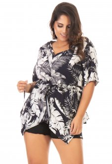 Blusa Feminina Estampada Alongada Plus Size