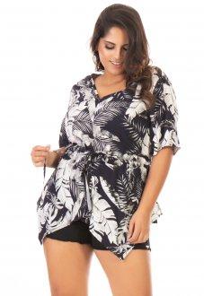 Imagem - Blusa Feminina Estampada Alongada Plus Size