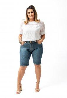 Blusa Soltinha plus Size Em Tecido De Viscose Detalhe Em Tule