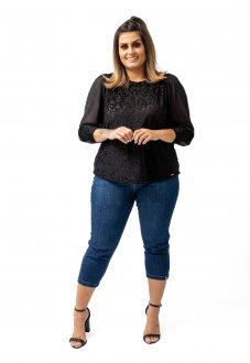 Blusa Soltinha Veludo e Tule Elegante Confortável Plus Size