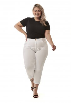 Calca Branca Capri Plus Size Jeans Feminina Cintura Alta Lycra