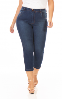 Imagem - Calça Capri Jeans Skinny Com Lycra Feminina Plus Size