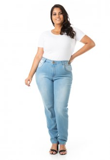 Calça Feminina Jeans Básica Tradicional Plus Size