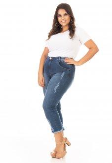 Calça Feminina Jeans Capri com Zíper na Barra Plus Size