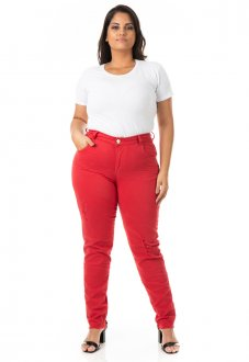 Calça Feminina Jeans Cigarrete Color Destroyed Plus Size