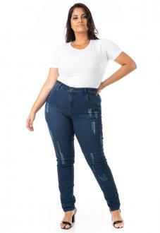 Imagem - Calça Feminina Jeans Cigarrete Tradicional Básica Plus Size