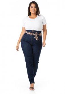 Imagem - Calça Feminina Jeans Cintura Alta Plus Size