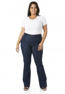 Calça Feminina Jeans Flare com Lycra Plus Size