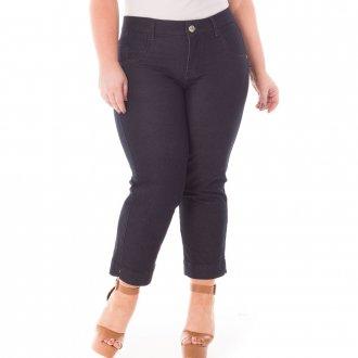 Calça Feminina Jeans Pantacourt com Lycra Plus Size