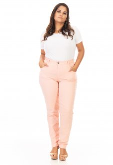 Calça Feminina Jeans Reta Tradicional Plus Size