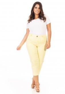 Calça Jeans Feminina Capri Cintura Alta Plus Size