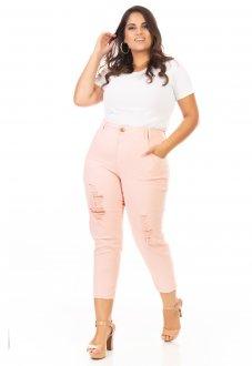 Calça Jeans Feminina Capri Destryed Cintura Alta Plus Size
