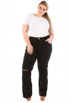 Calça Jeans Feminina Flare com Abertura no Joelho Plus Size