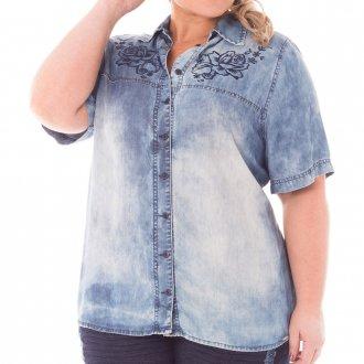 Camisa Feminina Bordada Jeans Plus Size