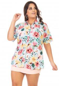 Camisa Feminina Floral Manga Curta Plus Size