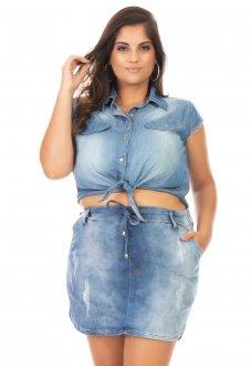 Camisa Feminina Jeans Cropped com Amarração