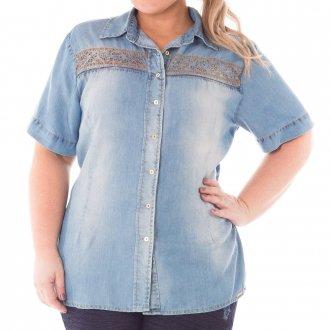 Camisa Jeans Feminina Bordado Floral Plus Size