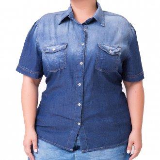 Camisa Jeans Feminina Manga Curta Plus Size