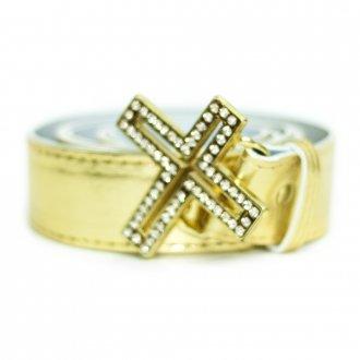 Cinto Feminino Dourado com Fivela Crucifixo Plus Size