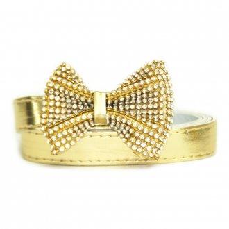 Cinto Feminino Dourado com Lacinho de Strass Plus Size