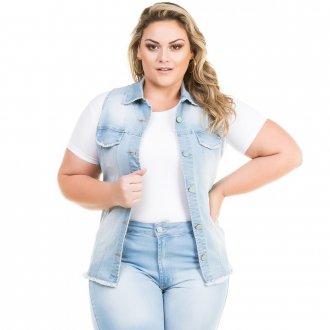 Colete Feminino Jeans Acinturado Barra Desfiada Plus Size
