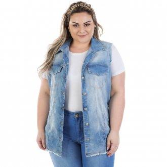 Colete Feminino Jeans Maxi Vinil com Elastano Plus Size