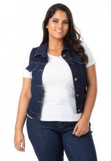 Imagem - Colete Feminino Jeans Tradicional Plus Size