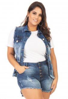 Colete Jeans Feminino Destroyed Plus Size