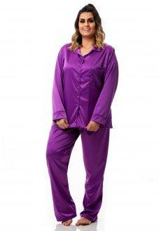 Conjunto de Pijama em Cetim Plus Size