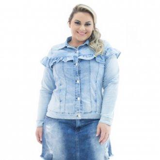 Imagem - Jaqueta Feminina Jeans com Babado Plus Size