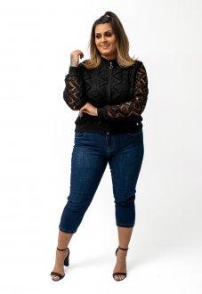 Jaqueta Blusa Feminina Bomber Em Renda Preta Plus Size