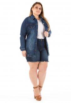 Jaqueta Jeans Feminina Alongada Plus Size