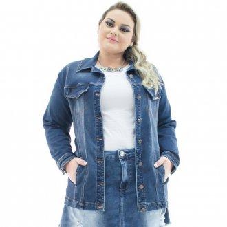 Imagem - Jaqueta Jeans Feminina Over Alongada Plus Size