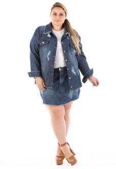 Jaqueta Jeans Feminina Oversized Destroyed Plus Size