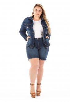 Imagem - Jaqueta Jeans Feminina Tradicional com Bolso Plus Size