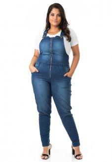 Jardineira Jeans Feminina com Zíper Plus Size